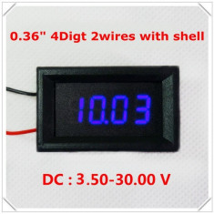 Voltmetru digital cu leduri albastre, 3.5-30 V, 4 digit, 2 fire, carcasa