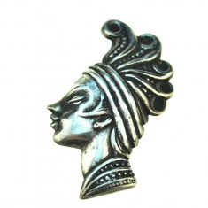 Brosa argint veche, stil Blackamoor, bijuterie etnica, profil printesa africana