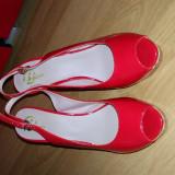 Pantofi - Pantof dama, Culoare: Rosu, Marime: 39, Cu talpa joasa