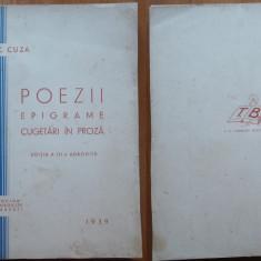 A. C. Cuza, Poezii, epigrame, cugetari in proza, 1939, impecabila