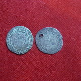 2 Monede medievale Ungaria - Denari, una 1590, gaurite, argint, d=1, 5 cm - Moneda Medievala, Europa