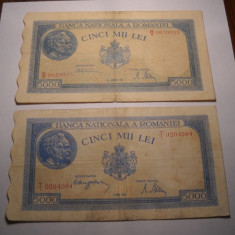 Lot 5000 lei 1944 si 5000 lei 1945 - Bancnota romaneasca