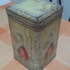CUTIE TABLA METALOGLOBUS NI 977-52 MODEL FETITA CU FLORI - Cutie Reclama