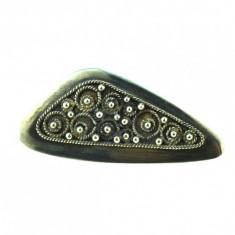 Brosa veche argint, model geometric decorat filigran, atelier Ierusalim, Israel - Brosa argint