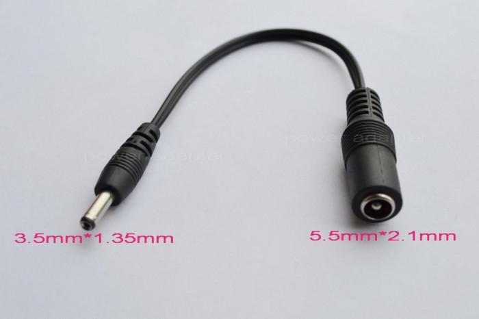 Adaptor DC  jack 5.5 * 2.1 mm mama la jack tata 3.5 * 1.35mm