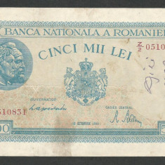 ROMANIA 5000 5.000 LEI 10 Octombrie 1944 [18] P-55 - Bancnota romaneasca