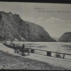 ORSOVA - Portiunea de drum Szechenyi - cazane, trasura, Dunarea - Carte Postala Banat 1904-1918, Circulata, Fotografie