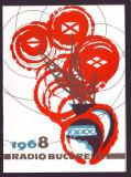 1968 Felicitare La Multi Ani, Radio Bucuresti, grafica militanta, propaganda