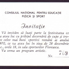 1970 CNEFS Invitatie la Premierea celor mai buni sportivi romani, propaganda