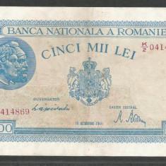 ROMANIA 5000 5.000 LEI 10 OCTOMBRIE 1944 [3] P-55, XF+ - Bancnota romaneasca