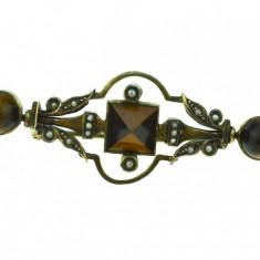 Brosa argint aurit antica, decorata perlute, ochi de tigru, perioada victoriana