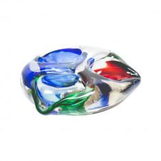 Vas Murano cu trei compartimente in trei culori, anii '60 - Bol sticla