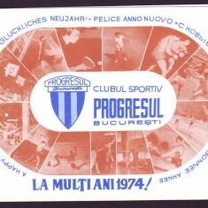 1974 Felicitare La Multi Ani, Clubul Sportiv PROGRESUL Bucuresti, propaganda