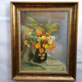 AUREL BORDENACHE  - pictor national - tablou -VAS cu FLORI - 1954 - ulei / lemn, Realism