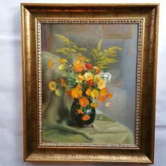 AUREL BORDENACHE  - pictor national - tablou -VAS cu FLORI - 1954 - ulei / lemn