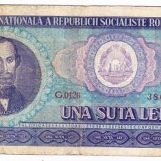 2) Bancnota 100 Lei 1966 portret Balcescu