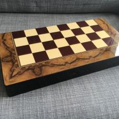Set joc table lux lemn lacuit 48x24 cm optional piese sah zaruri os - Set table