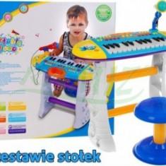 Orga Muzicala cu Scaunel - Albastra - Instrumente muzicale copii