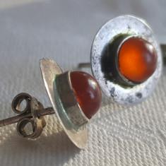 Cercei argint cu Carneol rotunzi Vechi Finuti de Efect executati manual Vintage