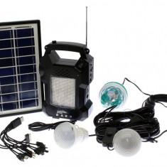 Panou solar kit fotovoltaic 4 becuri radio mp3 USB incarcare telefon GD8050