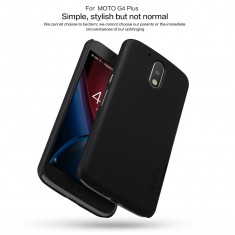 Husa Motorola Moto G4 / G4 Plus Super Frosted + Folie Protectie Nillkin Neagra - Husa Telefon Motorola, Negru, Plastic, Fara snur, Carcasa