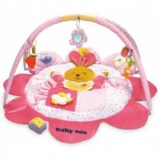 Covoras de joaca pentru bebelusi Baby Mix - Iepuras Roz - Jucarie pentru patut