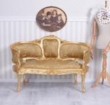 SOFA MARIA ANTONIETA  DIN LEMN MASIV AURIU SI TAPISERIE AURIE, Sufragerii si mobilier salon, Baroc