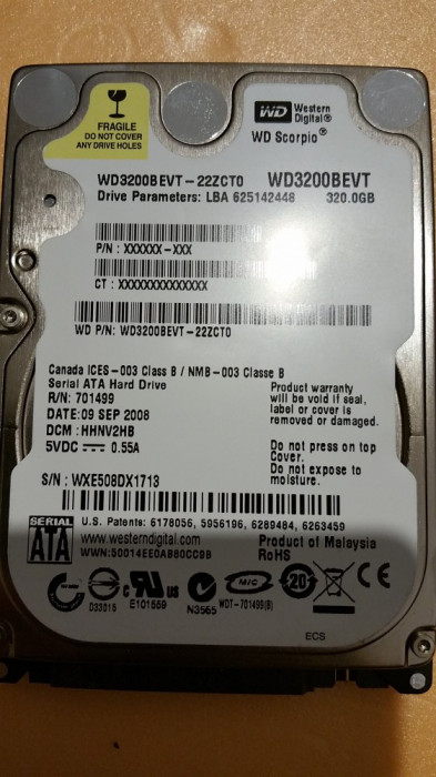 "35.HDD Laptop 2.5"" SATA 320 GB Western Digital 5400 RPM 8 MB foto mare"
