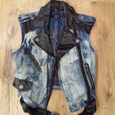 SUPER PRET! Vesta biker dama BEBE denim vintage+ piele model superb Sz XS/S - Vesta dama, Marime: S, Culoare: Albastru, Bumbac