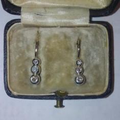 Cercei foarte vechi, începutul anilor 1900, cu 3 diamante! Superbi! - Cercei cu diamante