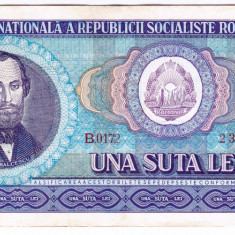 2) Bancnota 100 Lei 1966 portret Balcescu VF+ - Bancnota romaneasca