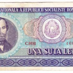 1) Bancnota 100 Lei 1966 portret Balcescu - Bancnota romaneasca