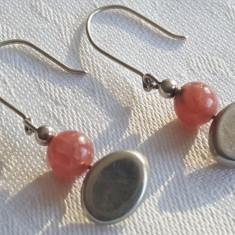 Cercei argint 950 cu Cuart roz Vechi Finuti executati manual Eleganti de Efect