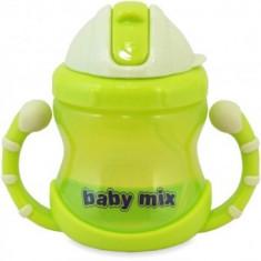 Cana de baut cu maner si pai Baby Mix - Verde