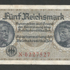 GERMANIA NAZISTA 5 MARK MARCI 1939 1940 1945 P-R138b, cu Zvastica, WWII [9] VF++ - bancnota europa