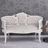 SOFA MARIA ANTONIETA DIN LEMN MASIV ALB ANTICHIZAT SI TAPISERIE BEJ, Sufragerii si mobilier salon, Baroc