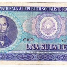 2) Bancnota 100 Lei 1966 portret Balcescu - Bancnota romaneasca