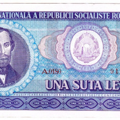 3) Bancnota 100 Lei 1966 portret Balcescu VF+ - Bancnota romaneasca