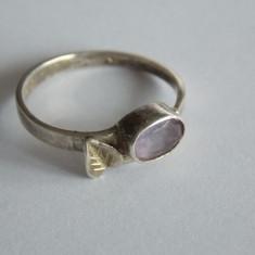 Inel de argint cu zirconiu mov -881 - Inel argint