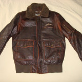Geaca barbati, pilot/aviator/vintage/colectie, din piele naturala, culoare maro