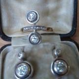 Cercei antici, început de sec.XX, din aur de 14 k cu BRILIANTE! si inel ! - Cercei cu diamante