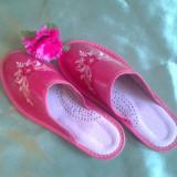 Papuci dama din piele, Culoare: Roz