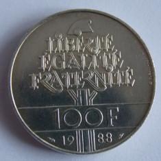 Moneda argint 100 franci 1988 Franta -742, Europa