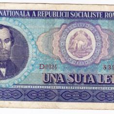 3) Bancnota 100 Lei 1966 portret Balcescu - Bancnota romaneasca