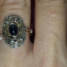 Inel din aur de 14 k, cu safir central! - Inel aur, Culoare: Galben