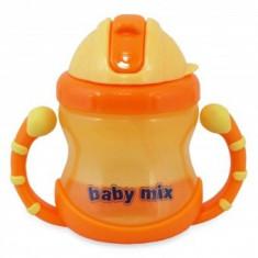 Cana de baut cu maner si pai Baby Mix - Portocaliu