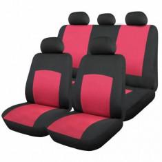 Huse scaune auto poliester, rosu, 9 bucati - Husa scaun auto
