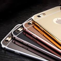 Bumper iPhone 5 5S Aluminiu + Capac Mirror Rose Gold - Bumper Telefon, Roz