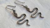 Cercei argint SERPI vechi Finuti executati manual vintage Patina minunata