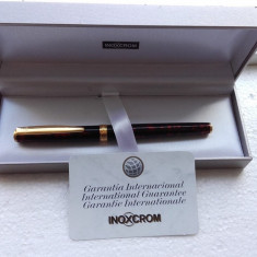 Stilou INOXCROM placat cu aur la cutie fabricat in Spania nu Montblanc, Cu patron